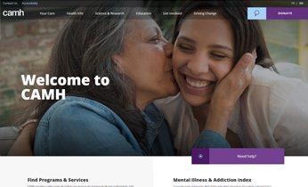 screenshot of Camh.ca